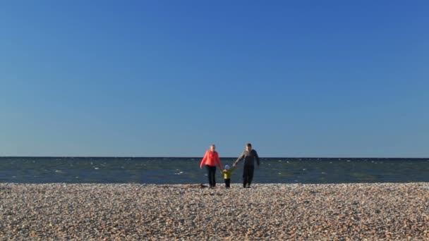 Young parents with their young child on a beach walking along hand in hand with their backs to the ocean