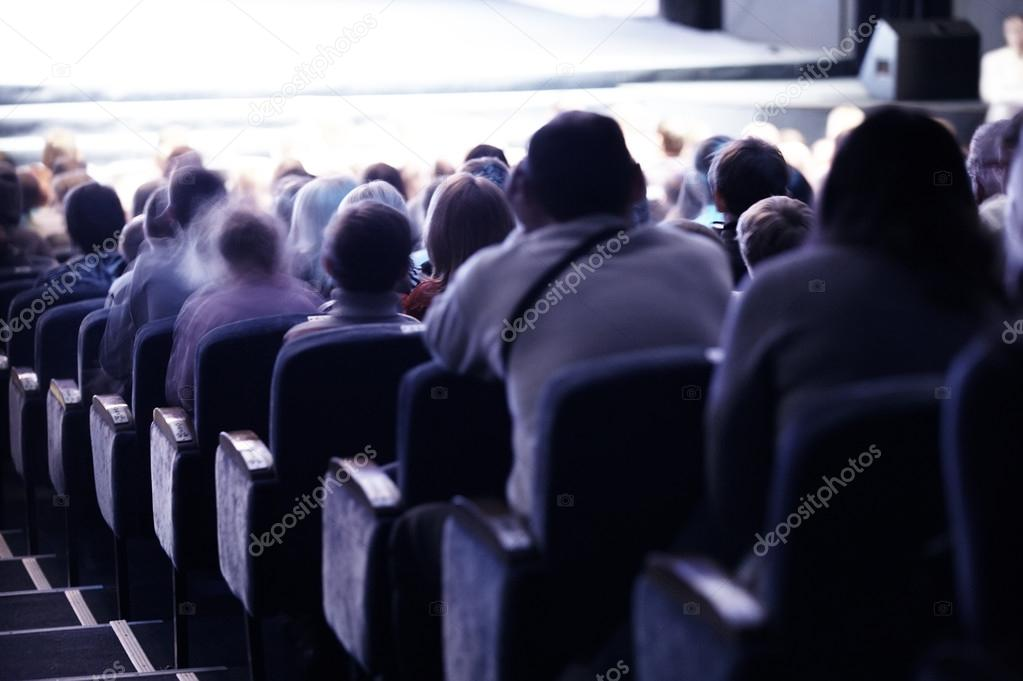 Audience sitting in tiered seating