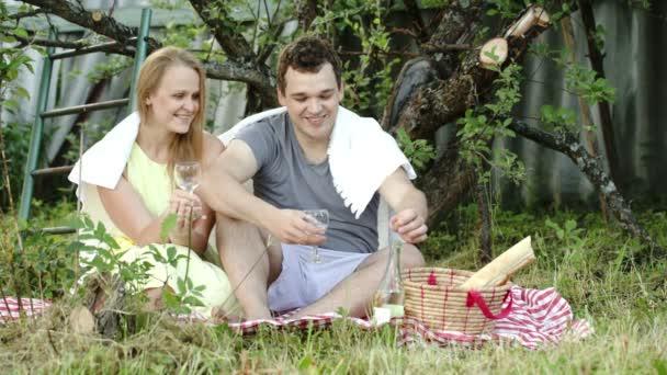 pár na piknik, pití vína a mluví