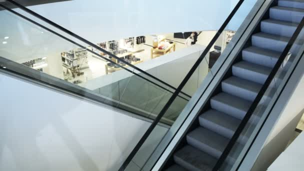 Empty Moving Staircase In Trade Center Royalty Free Stock Footage