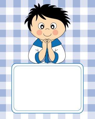 First Communion Invitation Card. Boy