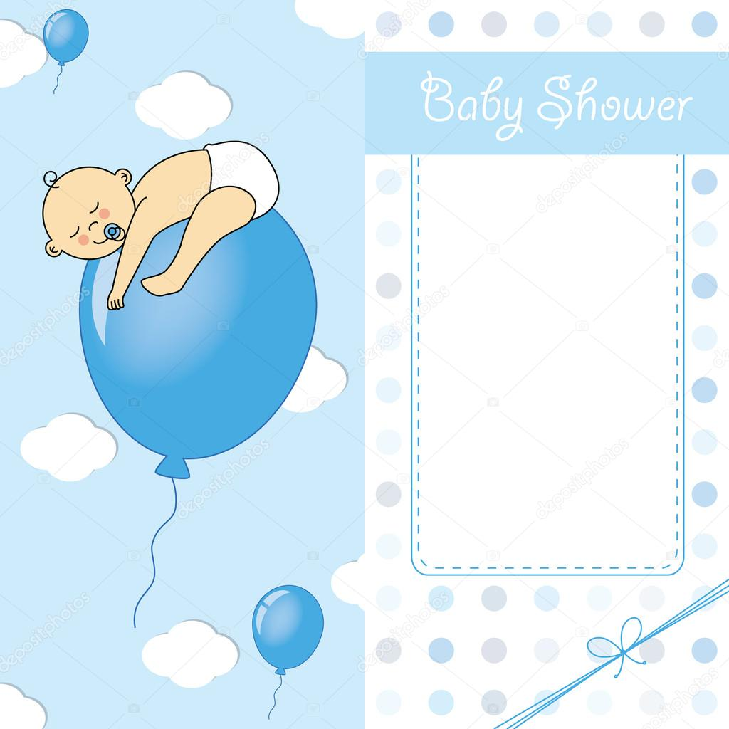 Child sleeping on top of a balloon. baby boy birth card — Stock ...