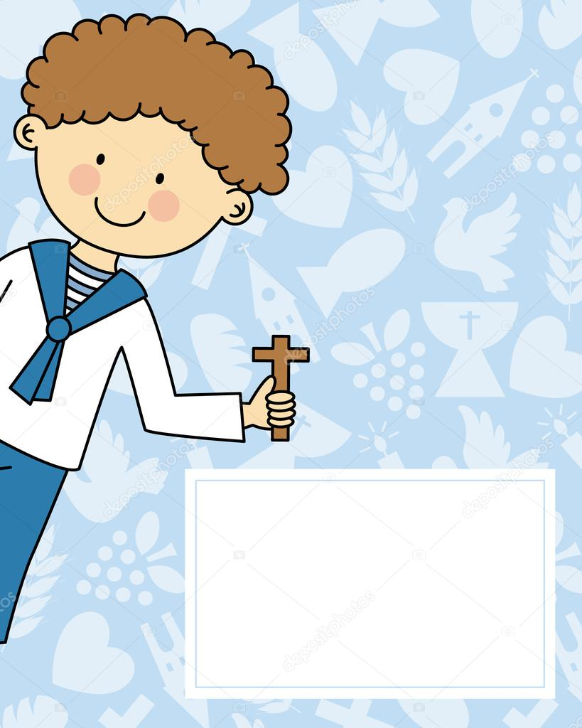 boy first communion invitation card stock vector sbego 46945565