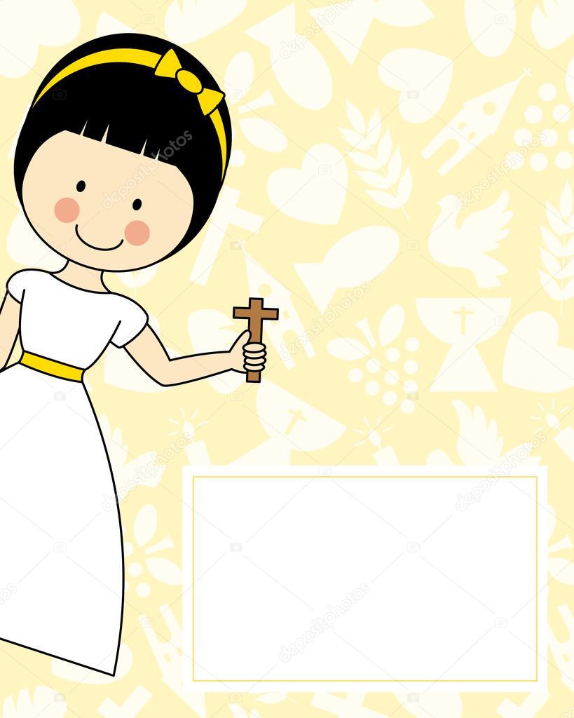49dc6a72b58 Tarjeta de invitación de primera Comunión niña — Archivo Imágenes  Vectoriales