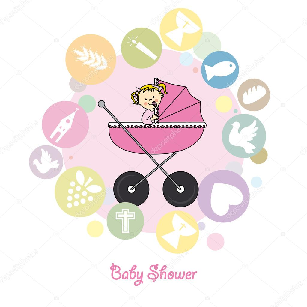 baby girl baptism invitation card stock vector sbego 48417915