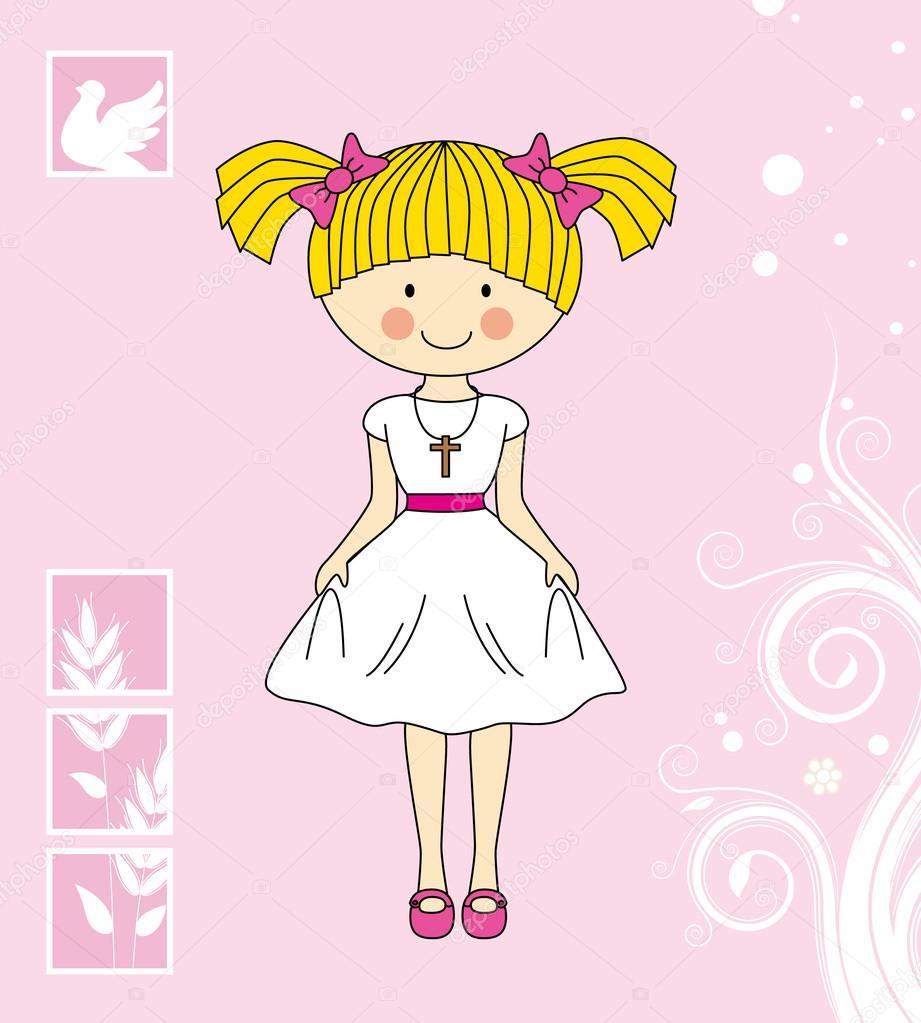 76ac362a762 primera Comunión niña — Archivo Imágenes Vectoriales © sbego  48880651