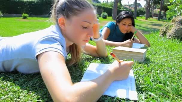studenti v parku dobře baví čtení knihy