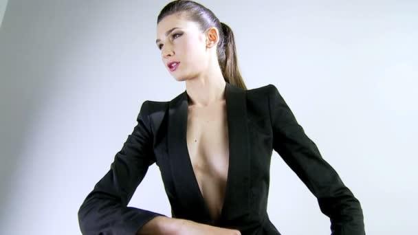 Model posing for fashion photo shoot