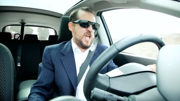 Happy business man driving