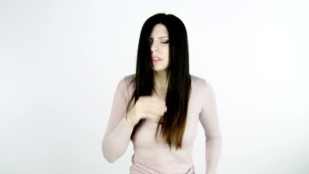 Sick beautiful woman sneezing