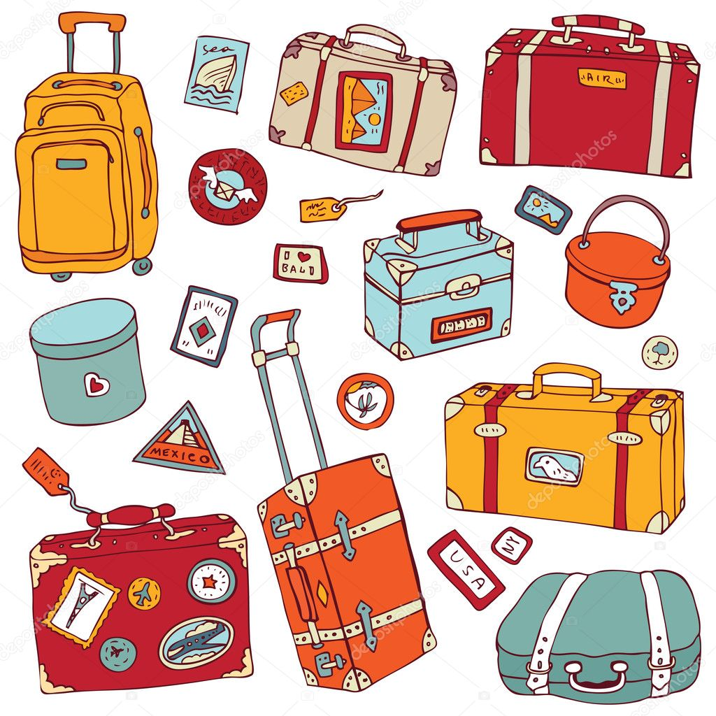 ビンテージ スーツケースを設定します。旅行ベクトル イラスト
