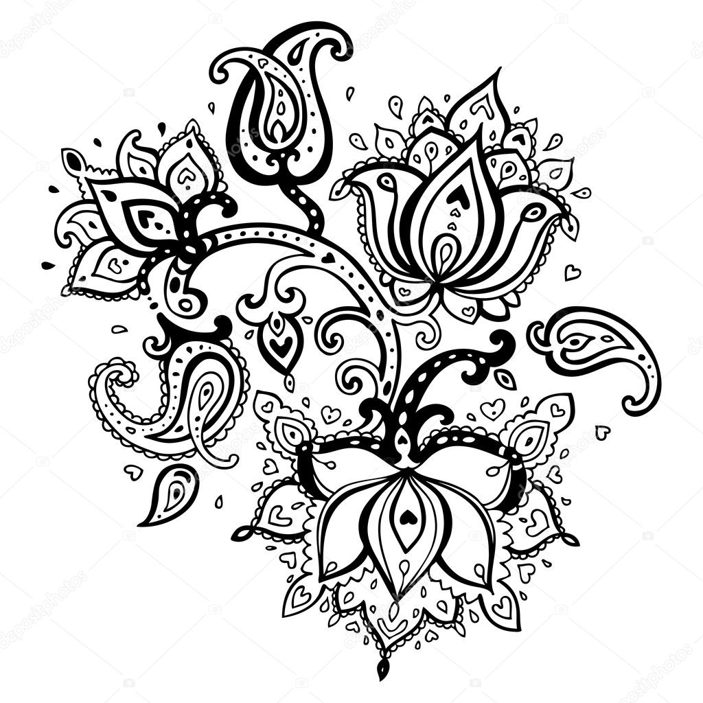 Hand Drawn Paisley ornament.