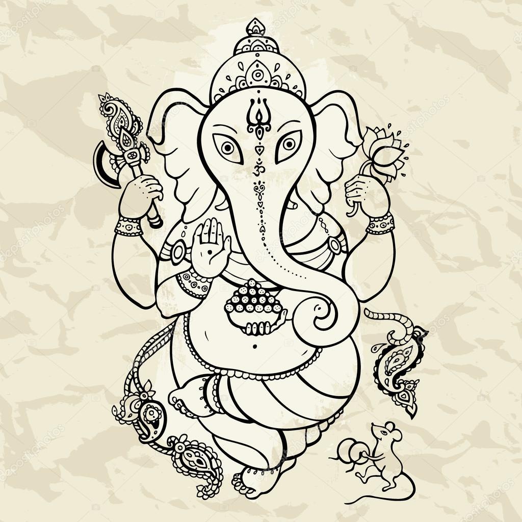 Ganesha ilustración dibujado a mano — Vector de stock © katyaulitina ...