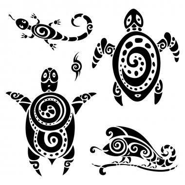 Turtle. Tribal tattoo set.