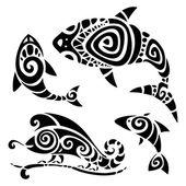 Fényképek törzsi tetoválás készlet.