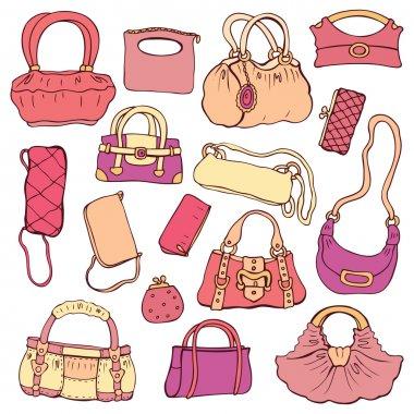 Women's handbags. Hand drawn Vector Set
