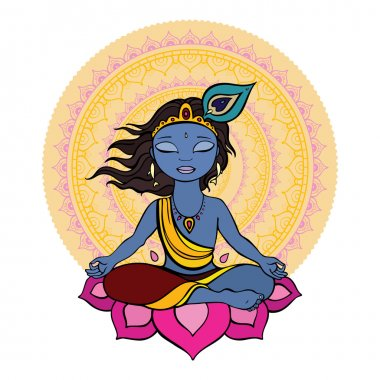 Hindu God Krishna. Vector hand drawn illustration. stock vector