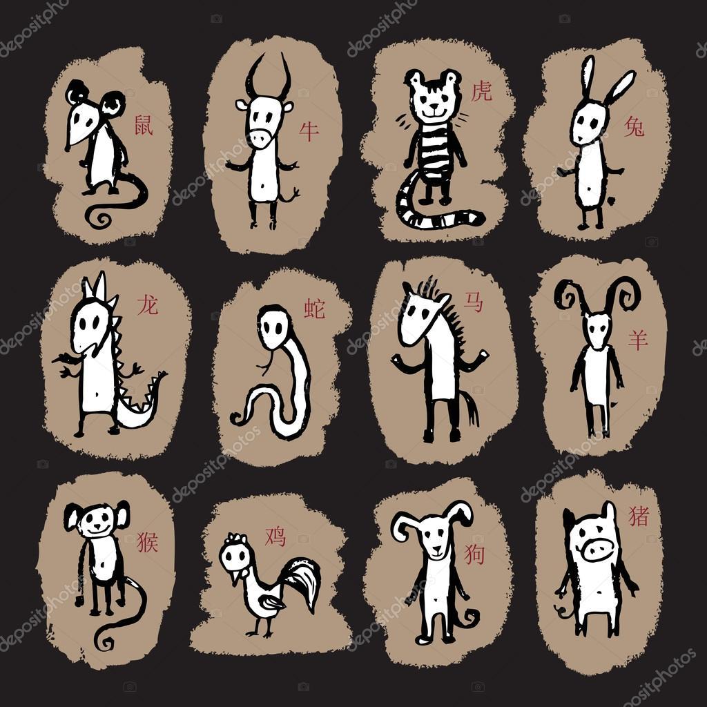 signes du zodiaque chinois 12 signe astrologique animale image vectorielle katyaulitina. Black Bedroom Furniture Sets. Home Design Ideas