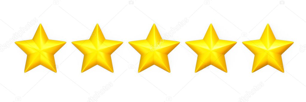 Five yellow stars in a row on white ⬇ Stock Photo, Image by © madgooch #14710225