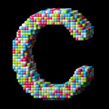 3d pixelated alphabet letter C