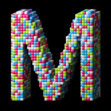 3d pixelated alphabet letter M