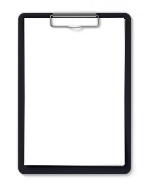 Black clipboard with blank sheets of paper