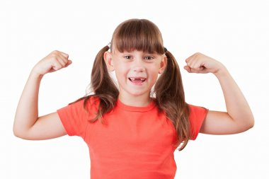 Little girl in a t-shirt demonstrates his biceps stock vector