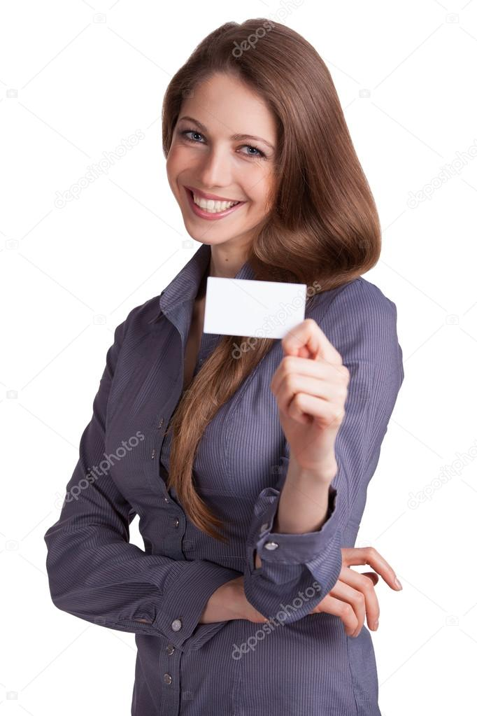 Pretty girl with business card in hand