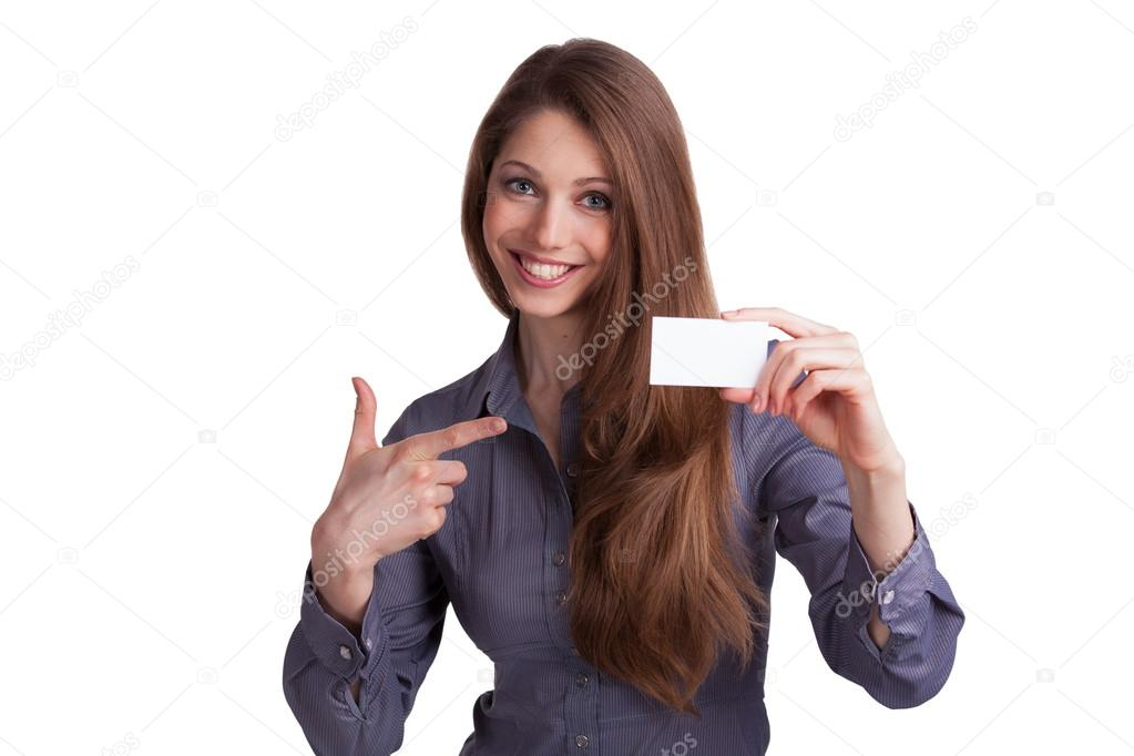 Girl showing a business card in hand