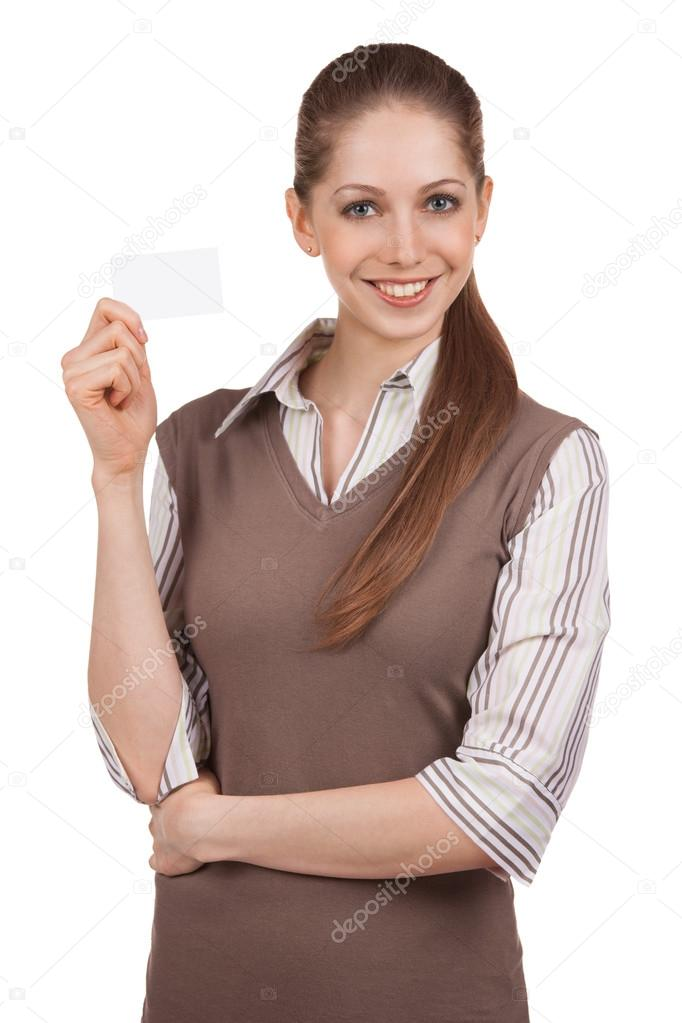 Young woman with credit card in hand