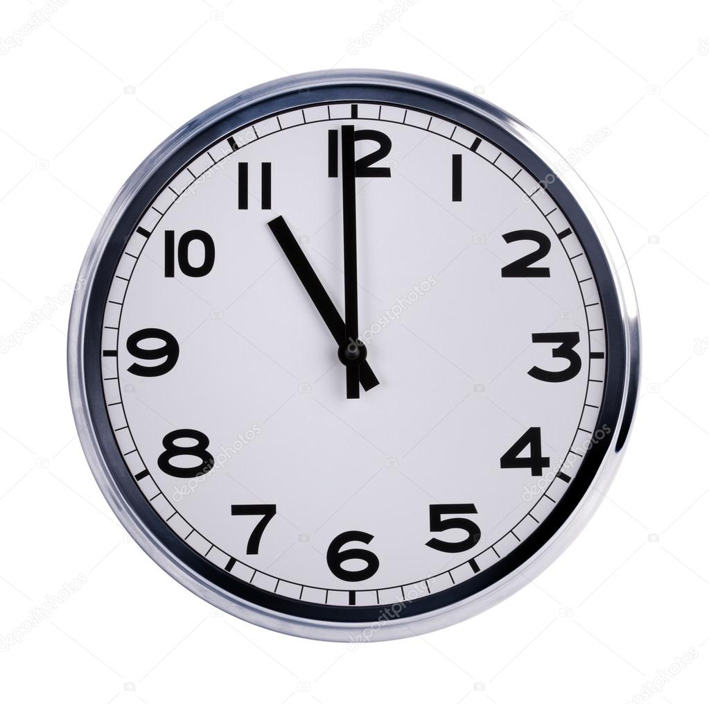 Round office clock shows eleven o'clock — Stock Photo
