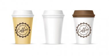 White, yellow, brown cups of coffee icons