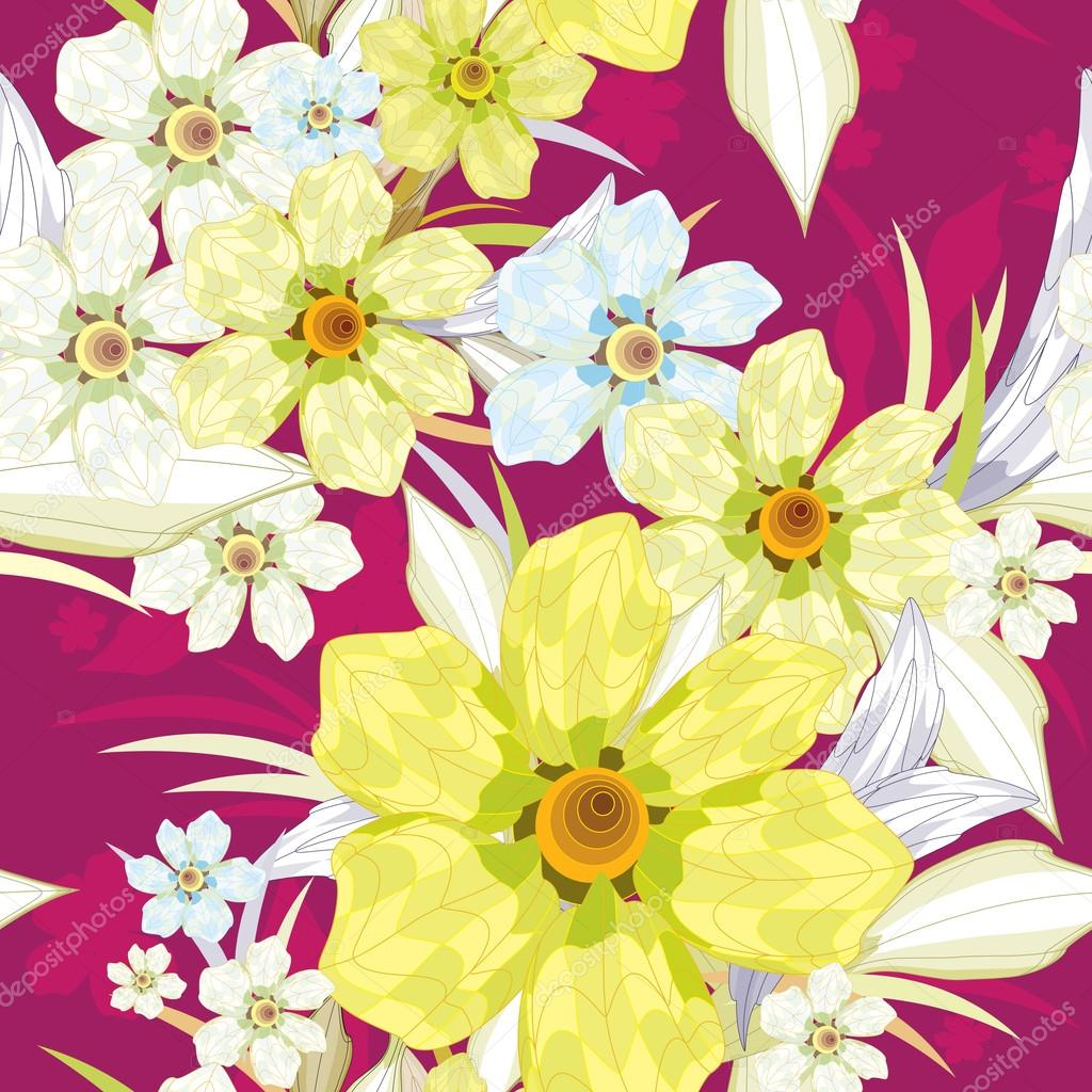 Seamless pattern with yellow flowers.
