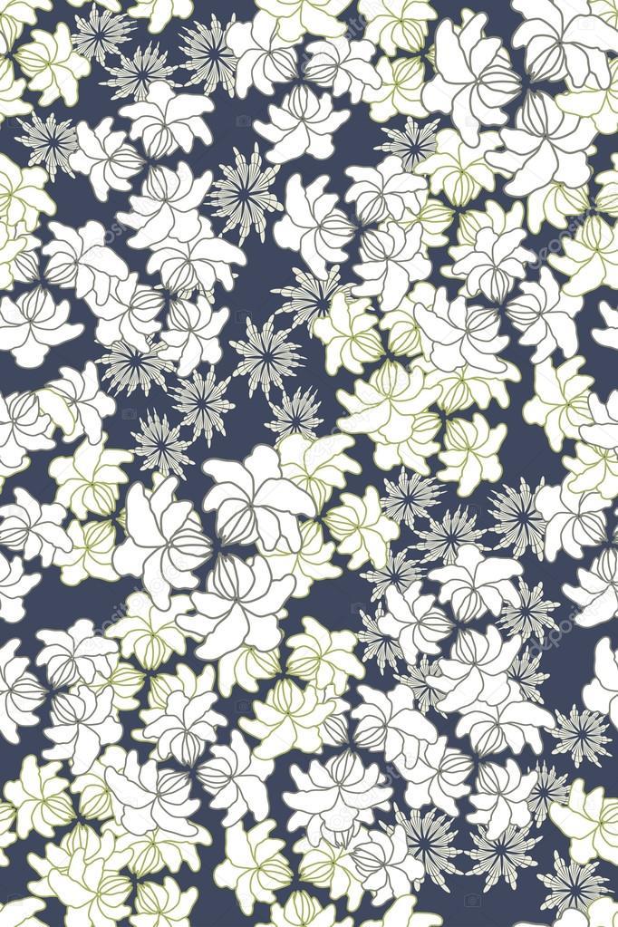 Seamless vector floral pattern on dark background