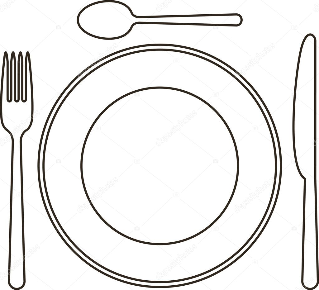 place setting with plate knife spoon and fork stock vector nikolae 12427386. Black Bedroom Furniture Sets. Home Design Ideas
