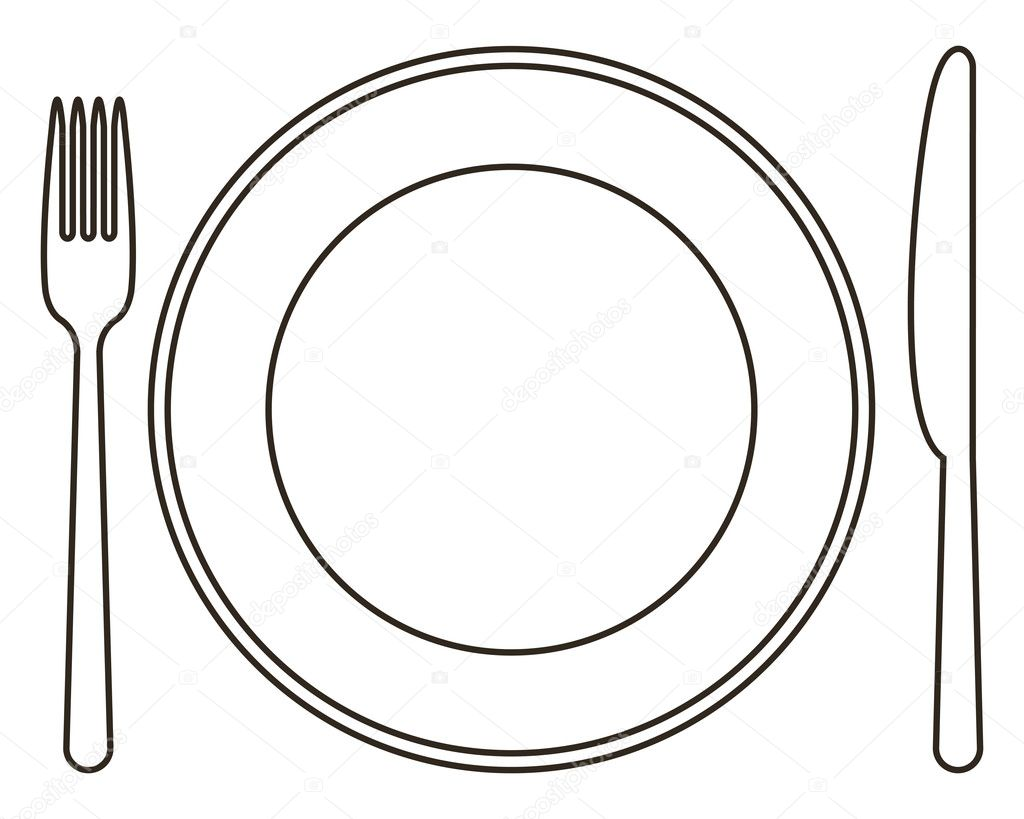 Assiette fourchette et couteau image vectorielle nikolae 12427393 - Assiette dessin ...