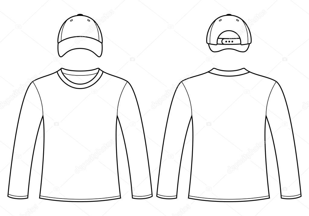 Modelo De Camiseta E Boné Manga Longa Vetores De Stock