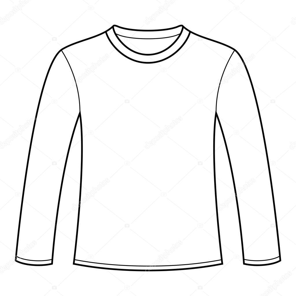 long sleeved t shirt template stock vector nikolae 12880021. Black Bedroom Furniture Sets. Home Design Ideas