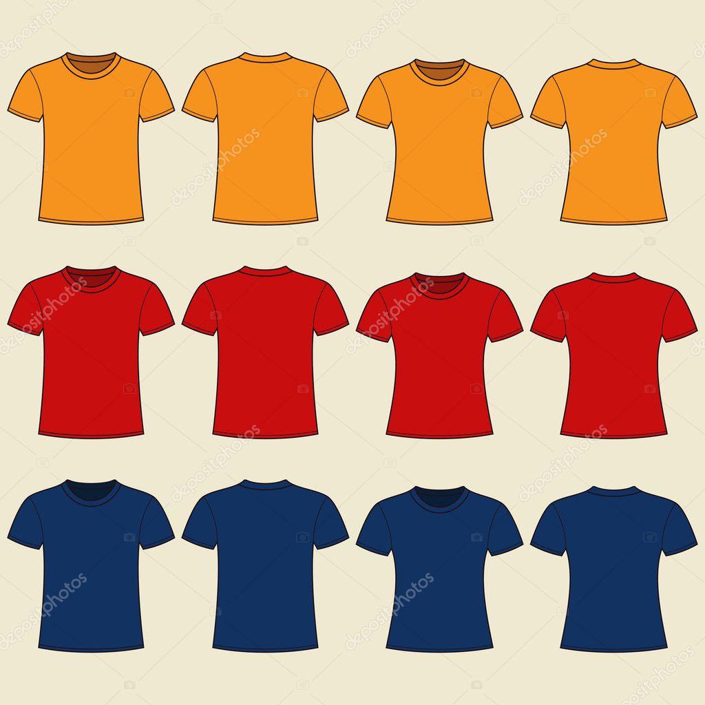 leere T-shirts-Vorlage. Vorder- und Rückseite — Stockvektor ...