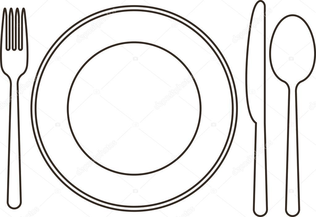 Assiette couteau cuill re et une fourchette image vectorielle nikolae 14691375 - Assiette dessin ...