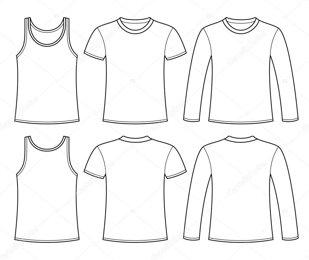 一重項 t シャツ 長袖 t シャツ テンプレート ストックベクター