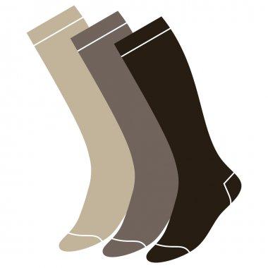 Set of long socks isolated on white background
