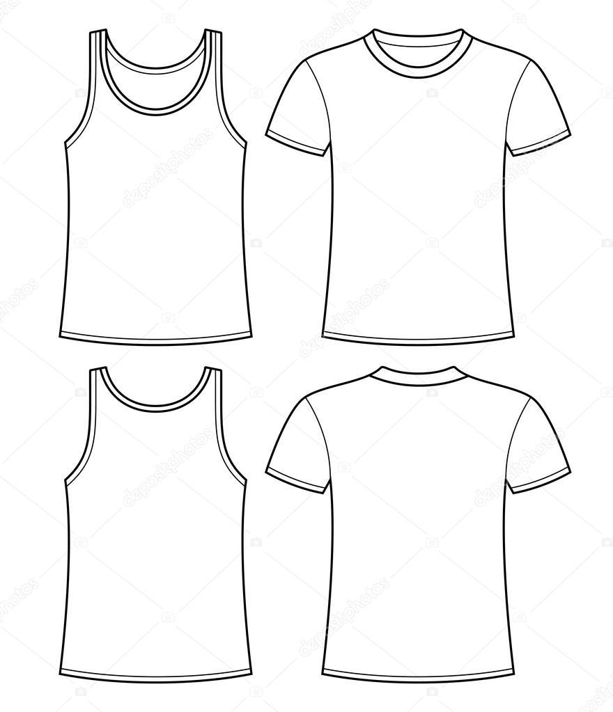 Unterhemd und T-shirt-Vorlage - Vorder- und Rückseite — Stockvektor ...