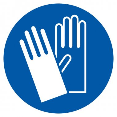 Wear Gloves - Safety Sign, Warning Sign stock vector