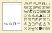 Fényképek Textile label template and washing symbols (laundry icons)