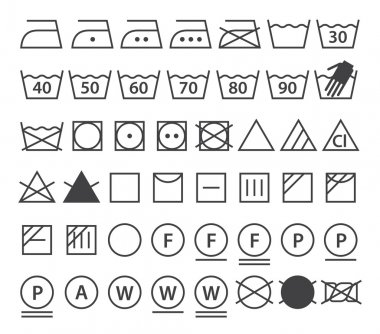 Set of washing symbols. Laundry icons