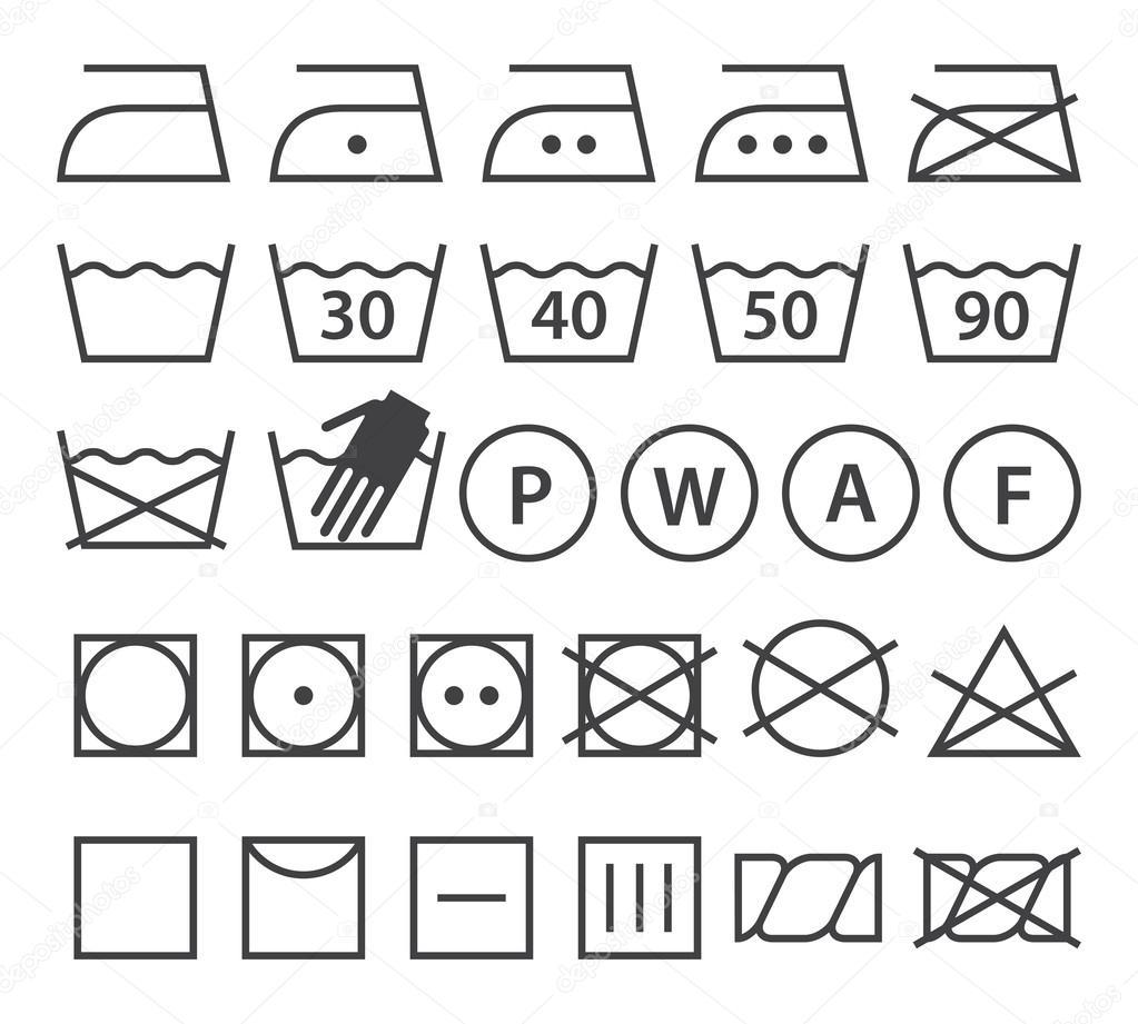 Set of washing symbols laundry icons stock vector nikolae set of washing symbols laundry icons isolated on white background vector by nikolae biocorpaavc Image collections