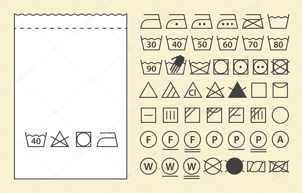 Labeltemplate   Textile Label Template And Washing Symbols Laundry Icons