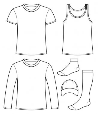 Singlet, T-shirt, Long-sleeved T-shirt, Cap and Socks template