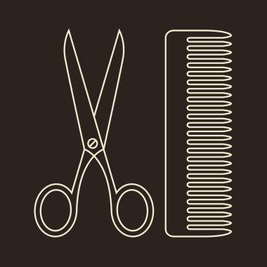 Vector Scissors and Comb. Symbols of hair salon